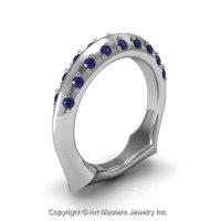 Classic 14K White Gold Blue Sapphire Greek Galatea Matching Wedding Band AR114B-14KWGBS-1