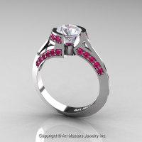 Modern French 14K White Gold 1.0 Ct White Sapphire Pink Sapphire Engagement Ring Wedding Ring R376-14KWGPSWS-1