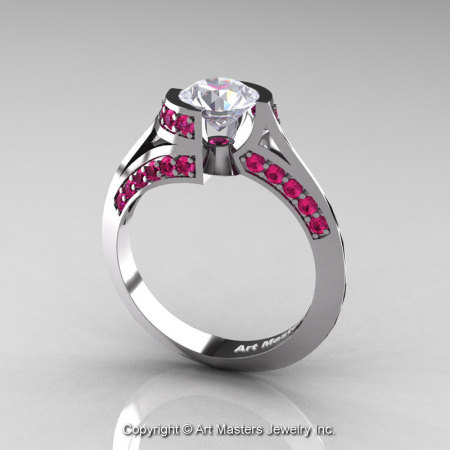 Modern French 14K White Gold 1.0 Ct White Sapphire Pink Sapphire Engagement Ring Wedding Ring R376-14KWGPSWS-1