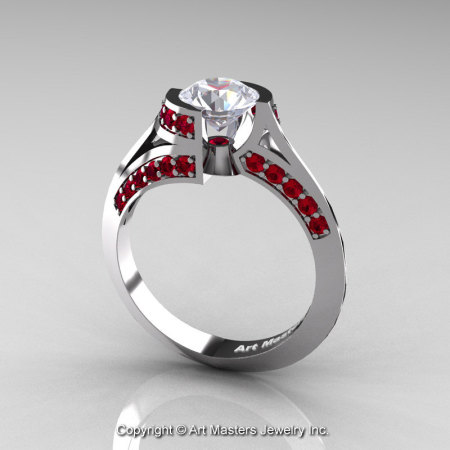 Modern French 14K White Gold 1.0 Ct White Sapphire Ruby Engagement Ring Wedding Ring R376-14KWGRWS-1