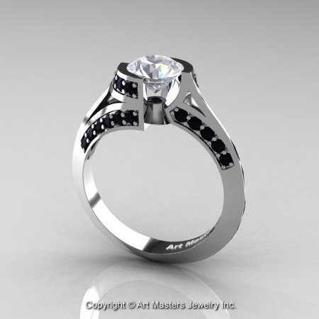 Modern French 14K White Gold 1.0 Ct White Sapphire Black Diamond Engagement Ring Wedding Ring R376-14KWGBDWS-1