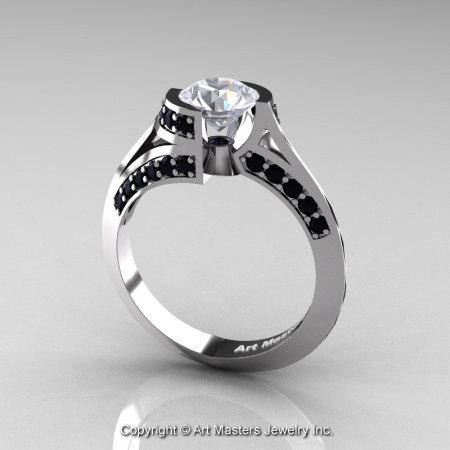 Modern French 14K White Gold 1.0 Ct White Sapphire Black Diamond Engagement Ring Wedding Ring R376-14KWGBDWS-1