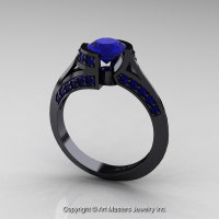 Modern French 14K Black Gold 1.0 Ct Blue Sapphire Engagement Ring Wedding Ring R376-14KBGBS-1