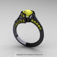 Modern French 14K Black Gold 1.0 Ct Yellow Sapphire Engagement Ring Wedding Ring R376-14KBGYS-1