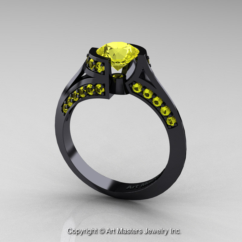 Modern French 14K Black Gold 1 0 Ct Yellow Sapphire Engagement Ring Wedding R