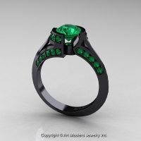 Modern French 14K Black Gold 1.0 Ct Emerald Engagement Ring Wedding Ring R376-14KBGEM-1