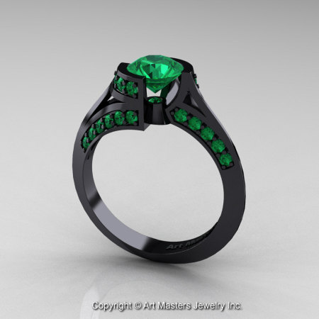 Modern French 14K Black Gold 1.0 Ct Emerald Engagement Ring Wedding Ring R376-14KBGEM-1