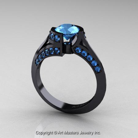 Modern French 14K Black Gold 1.0 Ct Blue Topaz Engagement Ring Wedding Ring R376-14KBGBT-1