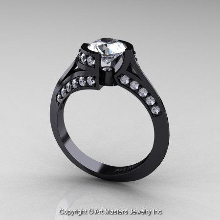 Modern French 14K Black Gold 1.0 Ct White Sapphire Engagement Ring Wedding Ring R376-14KBGWS-1