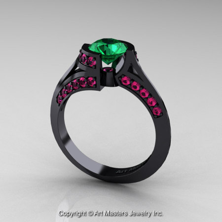 Modern French 14K Black Gold 1.0 Ct Emerald Pink Sapphire Engagement Ring Wedding Ring R376-14KBGPSEM-1