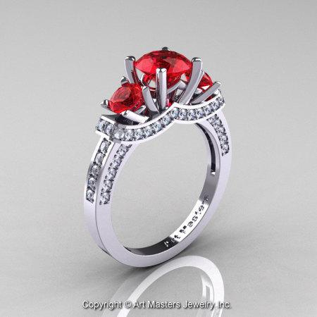 Exclusive French 14K White Gold Three Stone Rubies Diamond Engagement Ring Wedding Ring R182-14KWGDR-1