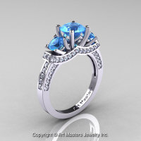 Exclusive French 14K White Gold Three Stone Blue Topaz Diamond Engagement Ring Wedding Ring R182-14KWGDBT-1