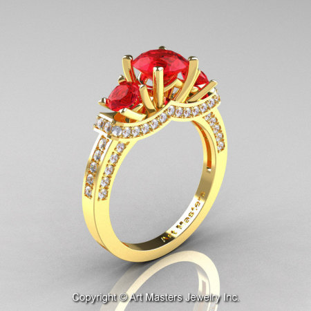 Exclusive French 18K Yellow Gold Three Stone Rubies Diamond Engagement Ring Wedding Ring R182-18KYGDR-1