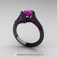 Modern French 14K Black Gold 1.0 Ct Amethyst Engagement Ring Wedding Ring R376-14KBGAM-1