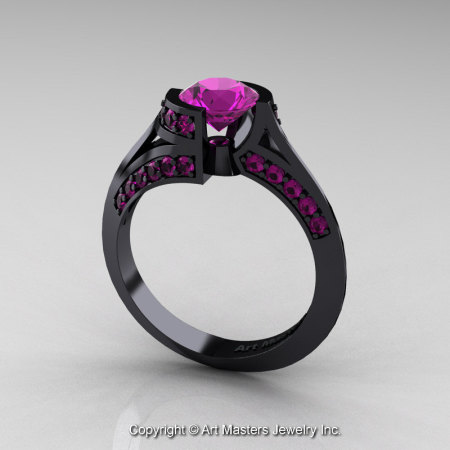 Modern French 14K Black Gold 1.0 Ct Amethyst Engagement Ring Wedding Ring R376-14KBGAM-1
