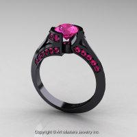 Modern French 14K Black Gold 1.0 Ct Pink Sapphire Engagement Ring Wedding Ring R376-14KBGPS-1