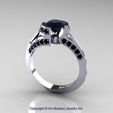 Modern French 14K White Gold 1.0 Ct Black Diamond Engagement Ring Wedding Ring R376-14KWGBD-1