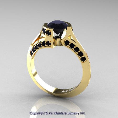 Modern French 14K Yellow Gold 1.0 Ct Black Diamond Engagement Ring Wedding Ring R376-14KYGBD-1