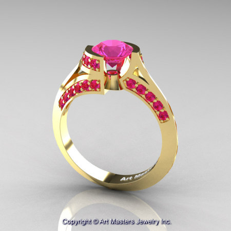 Modern French 14K Yellow Gold 1.0 Ct Pink Sapphire Engagement Ring Wedding Ring R376-14KYGPS-1