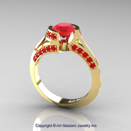 Modern French 14K Yellow Gold 1.0 Ct Ruby Engagement Ring Wedding Ring R376-14KYGR-1