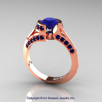 Modern French 14K Rose Gold 1.0 Ct Blue Sapphire Engagement Ring Wedding Ring R376-14KRGBS-1