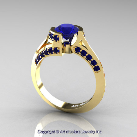 Modern French 14K Yellow Gold 1.0 Ct Blue Sapphire Engagement Ring Wedding Ring R376-14KYGBS-1