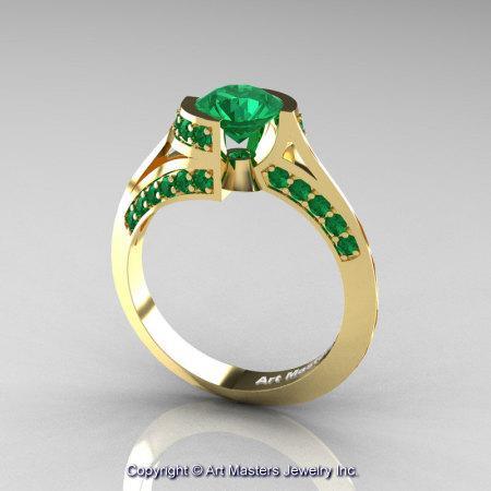 Modern French 14K Yellow Gold 1.0 Ct Emerald Engagement Ring Wedding Ring R376-14KYGEM-1