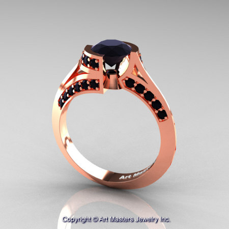 Modern French 14K Rose Gold 1.0 Ct Black Diamond Engagement Ring Wedding Ring R376-14KRGBD-1