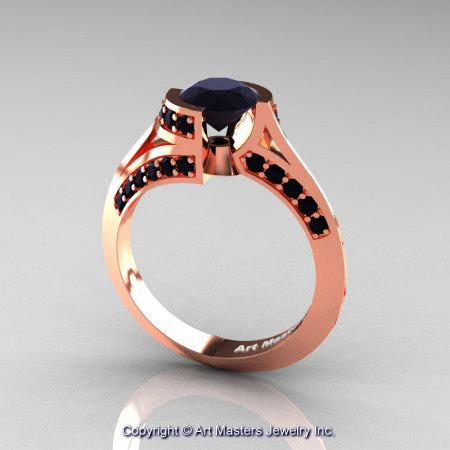 Modern French 14K Rose Gold 1.0 Ct Black Diamond Engagement Ring Wedding Ring R376-14KRGBD-1