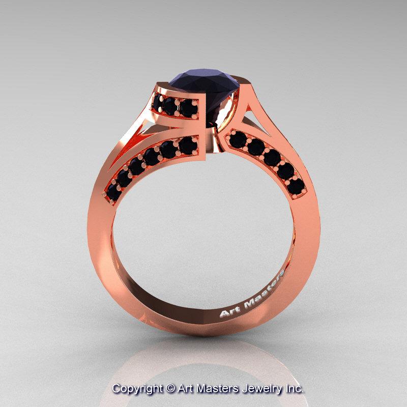 Modern French 14k Rose Gold 1 0 Ct Black Diamond