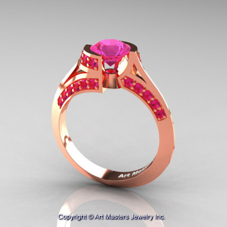 Modern French 14K Rose Gold 1.0 Ct Pink Sapphire Engagement Ring Wedding Ring R376-14KRGPS-1