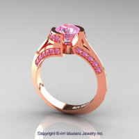 Modern French 14K Rose Gold 1.0 Ct Light Pink Sapphire Engagement Ring Wedding Ring R376-14KRGLPS-1