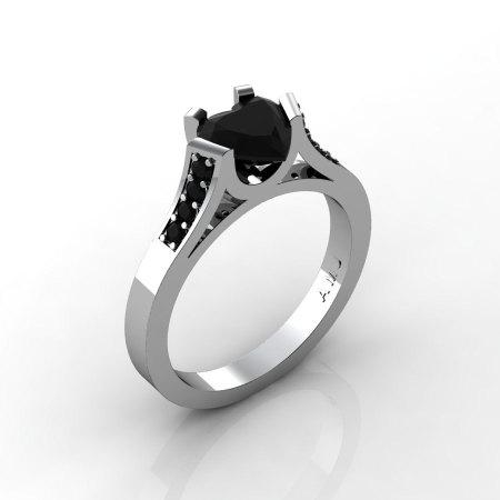 Gorgeous 14K White Gold 1.0 Ct Heart Black Diamond Modern Wedding Ring Engagement Ring for Women R663-14KWGBD-1