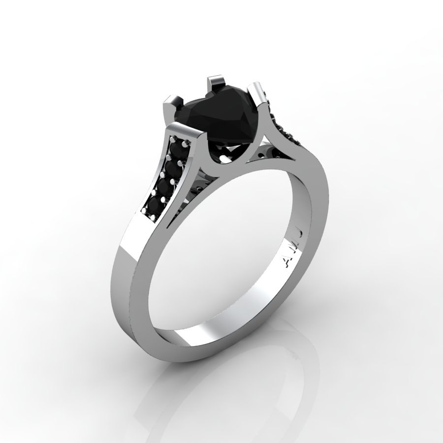 Gorgeous 14K White Gold 1 0 Ct Heart Black Diamond Modern Wedding Ring Engage