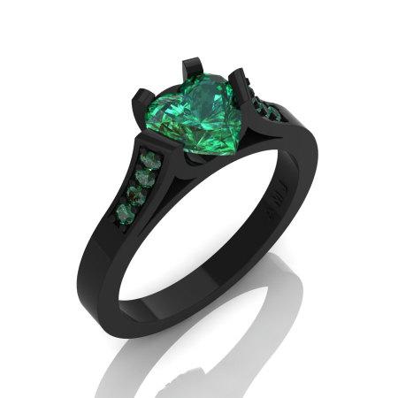 Gorgeous 14K Black Gold 1.0 Ct Heart Emerald Modern Wedding Ring Engagement Ring for Women R663-14KBGEM-1