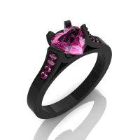 Gorgeous 14K Black Gold 1.0 Ct Heart Pink Sapphire Modern Wedding Ring Engagement Ring for Women R663-14KBGPS-1