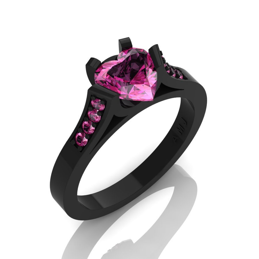 Gorgeous 14K Black Gold 1 0 Ct Heart Pink Sapphire Modern Wedding Ring Engage