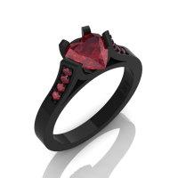 Gorgeous 14K Black Gold 1.0 Ct Heart Ruby Modern Wedding Ring Engagement Ring for Women R663-14KBGR-1