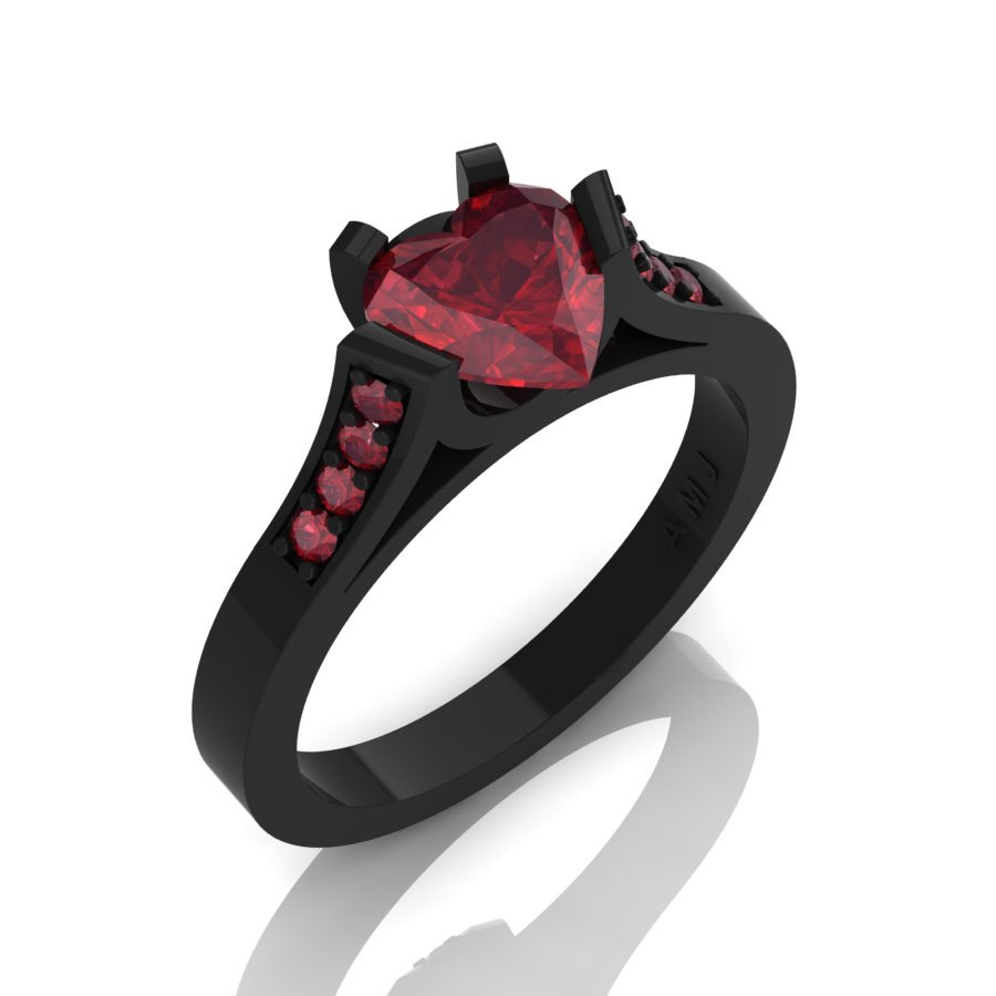 Gorgeous 14K Black Gold 1 0 Ct Heart Ruby Modern Wedding Ring Engagement Ring