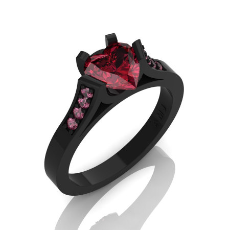 Gorgeous 14K Black Gold 1.0 Ct Heart Garnet Modern Wedding Ring Engagement Ring for Women R663-14KBGGA-1