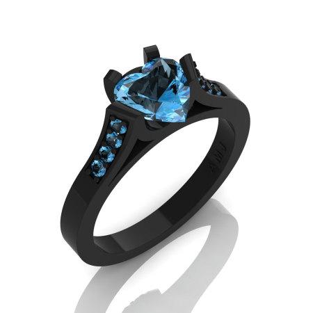Gorgeous 14K Black Gold 1.0 Ct Heart Blue Topaz Modern Wedding Ring Engagement Ring for Women R663-14KBGBT-1