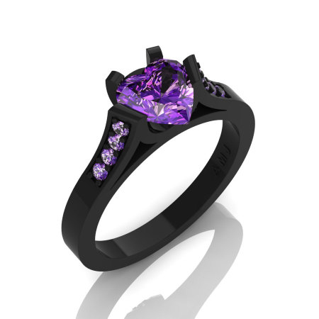 Gorgeous 14K Black Gold 1.0 Ct Heart Amethyst Modern Wedding Ring Engagement Ring for Women R663-14KBGAM-1