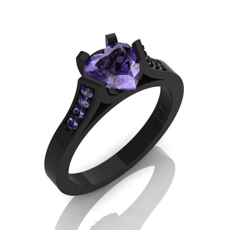 Gorgeous 14K Black Gold 1.0 Ct Heart Tanzanite Modern Wedding Ring Engagement Ring for Women R663-14KBGTA-1
