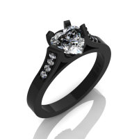 Gorgeous 14K Black Gold 1.0 Ct Heart White Sapphire Modern Wedding Ring Engagement Ring for Women R663-14KBGWS-1