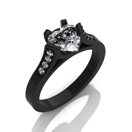 Gorgeous 14K Black Gold 1.0 Ct Heart White Sapphire Modern Wedding Ring Engagement Ring for Women R663-14KBGWS-1
