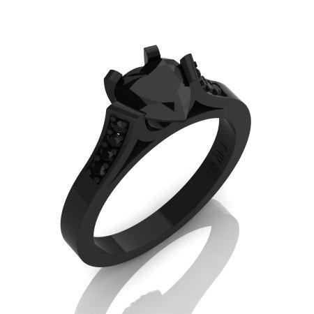 Gorgeous 14K Black Gold 1.0 Ct Heart Black Diamond Modern Wedding Ring Engagement Ring for Women R663-14KBGBD-1
