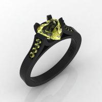 Gorgeous 14K Black Gold 1.0 Ct Heart Yellow Topaz Modern Wedding Ring Engagement Ring for Women R663-14KBGYT-1