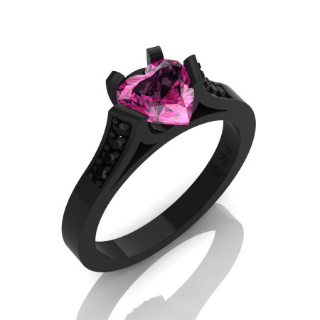 Gorgeous 14K Black Gold 1.0 Ct Heart Pink Sapphire Black Diamond Modern Wedding Ring Engagement Ring for Women R663-14KBGBDPS-1
