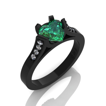 Gorgeous 14K Black Gold 1.0 Ct Heart Chatham Emerald Diamond Modern Wedding Ring Engagement Ring for Women R663-14KBGDCEM-1