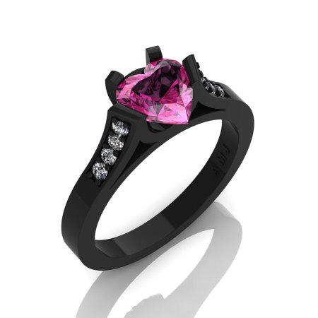 Gorgeous 14K Black Gold 1.0 Ct Heart Pink Sapphire Diamond Modern Wedding Ring Engagement Ring for Women R663-14KBGDPS-1